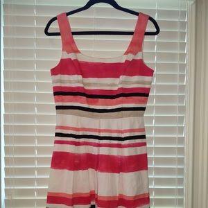 Whbm sz 8 coral stripe A line dress